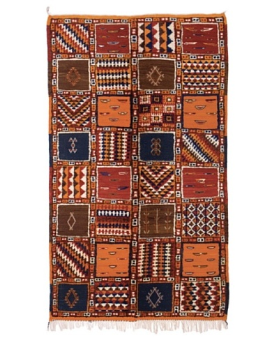 "Hotel Marrakeche One of a Kind Hand Knotted Moroccan Rug, Red/Blue/Orange, 3' 9"" x 7' 1"""