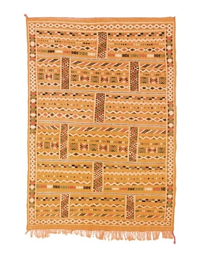 Hotel Marrakeche One of a Kind Hand Knotted Moroccan Rug, Tan/Crème/Brown, 4' 1 x 6' 1