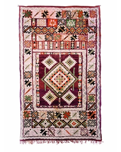 Hotel Marrakeche One of a Kind Hand Knotted Moroccan Rug, Crème/Red/Green, 5' 11 x 10' 2