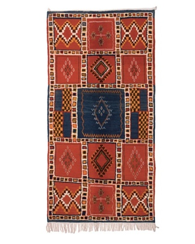 Hotel Marrakeche One of a Kind Hand Knotted Moroccan Rug, Red/Blue, 3' 7 x 7' 8