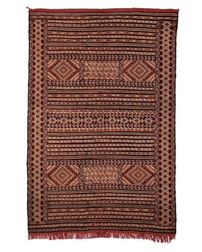 Hotel Marrakeche One of a Kind Hand Knotted Moroccan Rug, Brown/Burgundy/Orange, 5' 7' x 8' 11'