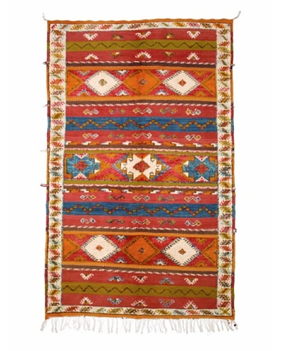 Hotel Marrakeche One of a Kind Hand Knotted Moroccan Rug, Red/Orange/Blue, 5' 1 x 8' 6