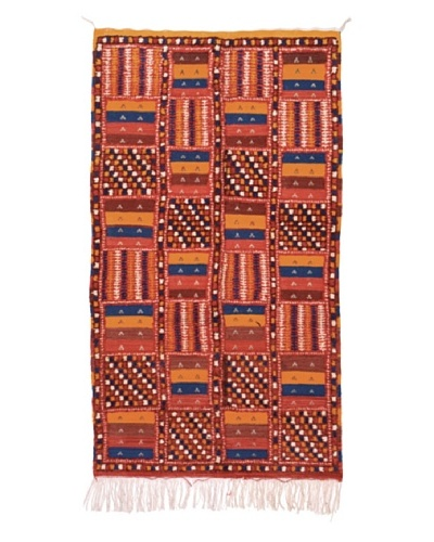 Hotel Marrakeche One of a Kind Hand Knotted Moroccan Rug, Red/Blue/Orange, 3' 6 x 6' 8