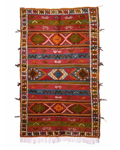 Hotel Marrakeche One of a Kind Hand Knotted Moroccan Rug, Red/Green/Blue, 5' x 9'