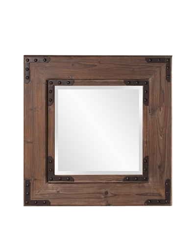 Howard Elliott Collection Caldwell Square Mirror, Natural Wood