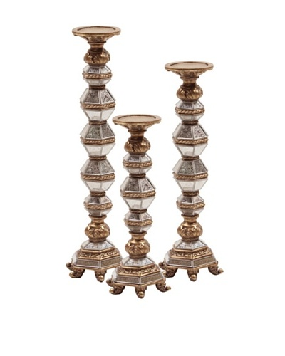 Howard Elliott 3-Piece Antique Mirrored Candleholder Set