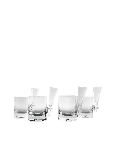 Set of 4 Unique Rauk Whiskey Glasses, Clear