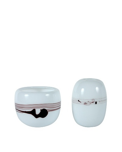 Set of 2 Murano Handblown Art Glass, White/Purple