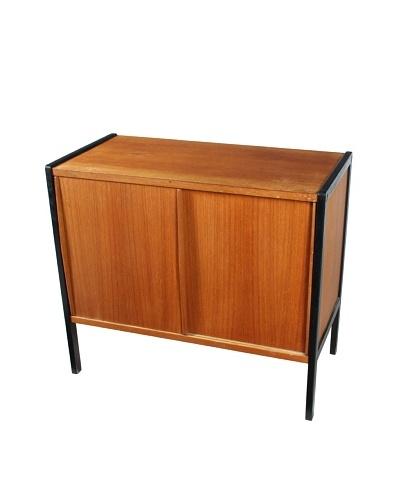 Biedermeier Style Teak Cabinet, Brown/Black