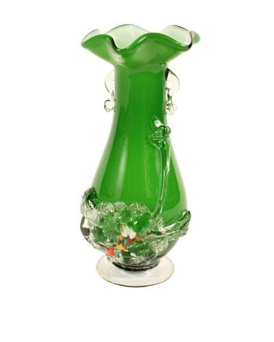 Vintage Art Glass Vase C. 1960's, Green/White/Clear