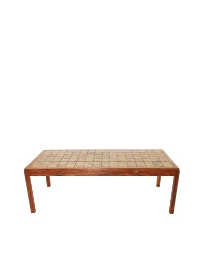 Vintage Scandinavian Sofabord Coffee Table, Brown/Green/Gold