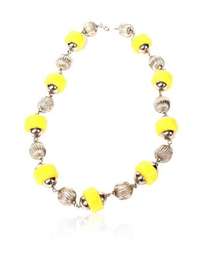 Vintage Bakelite Silver Tone Necklace, Silver/Yellow