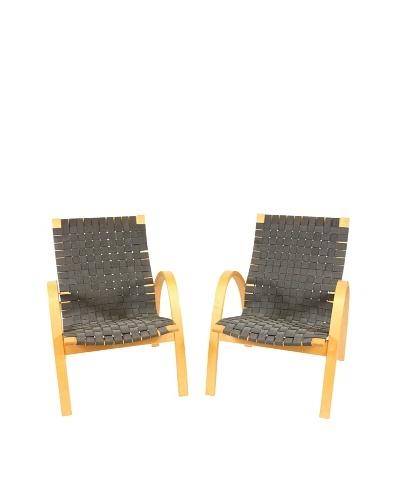 Vintage Pair of Scandinavian Basket Weave Chairs, Black/Silver