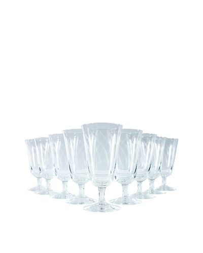Set of 9 French Water Goblets, Clear