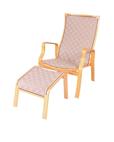 Vintage Bruno Mathsson Chair & Ottoman, Brown