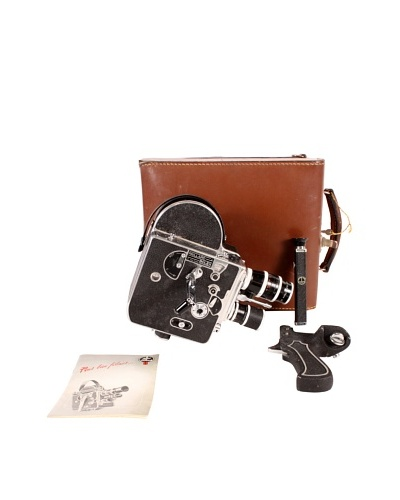 Vintage Paillard Bolex Movie Camera with Case, Black/Brown