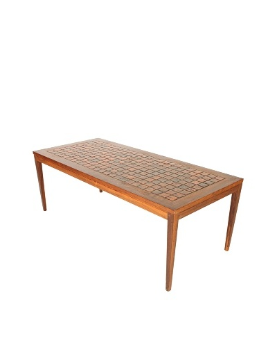 Danish Mid-Century Modern Tile Top Table, Brown/Orange/Black