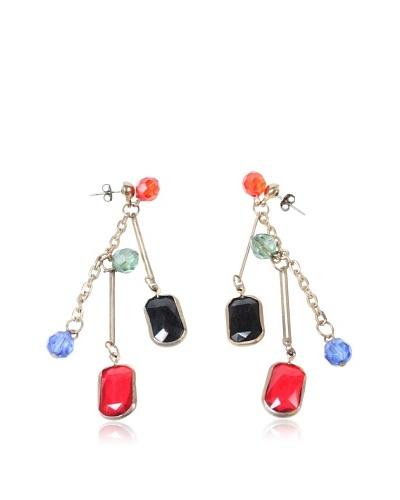 Gemstone Earrings, Red/Purple