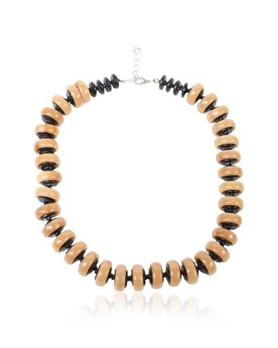 Bakelite Necklace, Tan/Black
