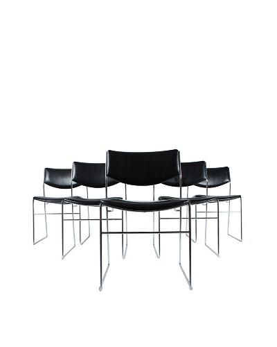 Set of 5 Mid-Century Modern Black Chairs, Black/Silver