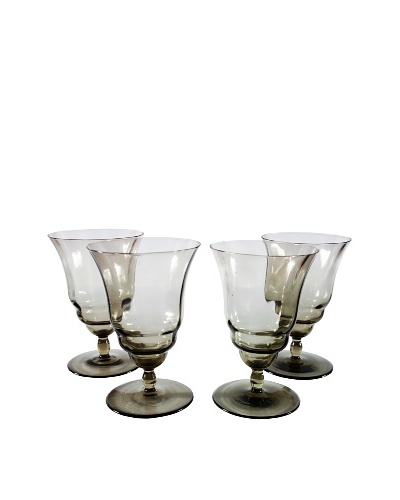 Set of 4 Smokey Quartz Water Goblets, Gray