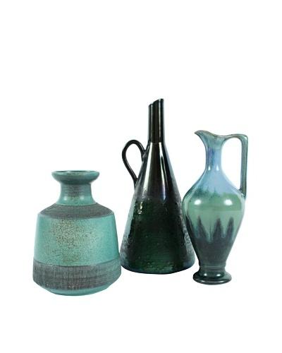 Set of 3 Scandinavian Pottery, Green/Blue/Brown