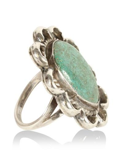Turquoise Flower Ring, Metallic/Green/Blue