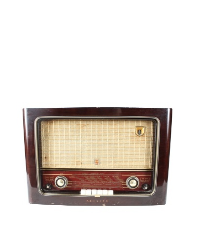 Phillips Mid-Century International Radio, Brown/Gold/Cream