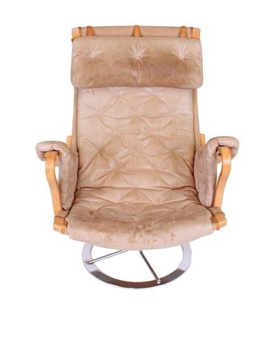 """Vintage Bruno Mathsson """"Pernilla"""" Chair, Tan/Silver"""