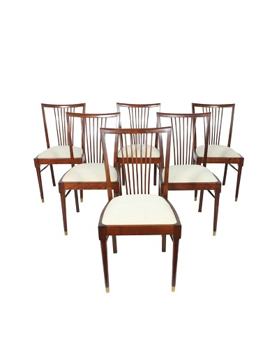 Set of 6 Rosewood Dining Chairs, Brown/White