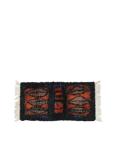 Swedish Handmade Rya Rug, Black/Orange/Brown/Blue, 2' 4 x 5' 2