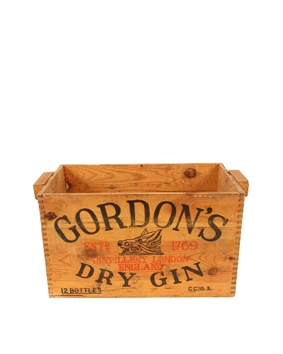 Gordon's Gin Wood Crate, Brown/Black/Red