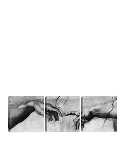 iCanvasArt Michelangelo: The Creation of Adam V Panoramic Giclée Triptych
