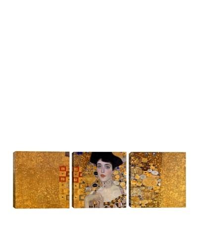 iCanvasArt Gustav Klimt: Portrait of Adele Bloch-Bauer I Panoramic Giclée Triptych