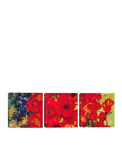 iCanvasArt Vincent Van Gogh: Vase with Daisies and Poppies Panoramic Giclée Triptych