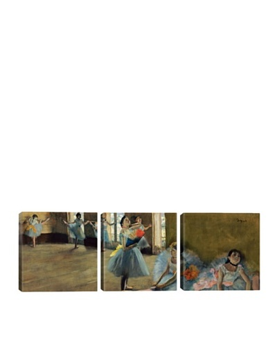 iCanvasArt Edgar Degas: Dancers By Rail Panoramic Giclée Triptych