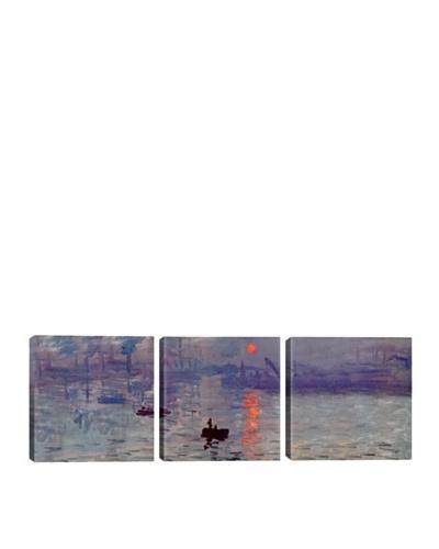 iCanvasArt Claude Monet: Sunrise Impression Panoramic Giclée Triptych