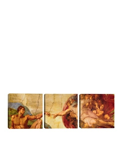 iCanvasArt Michelangelo: Creation Of Adam Panoramic Giclée Triptych