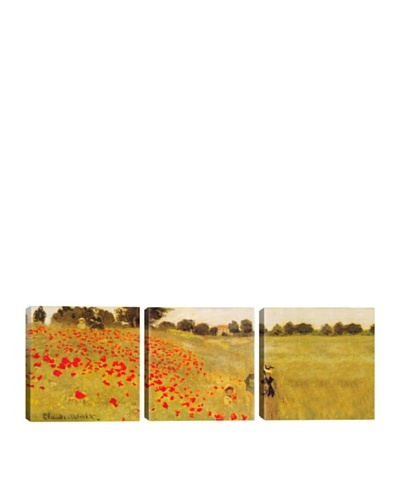 iCanvasArt Claude Monet: Field of Poppies Panoramic Giclée Triptych