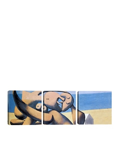 iCanvasArt Pablo Picasso: Figure by The Sea Panoramic Giclée Triptych