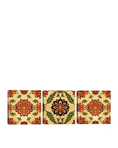 iCanvasArt Indian Mughal Empire: Velvet Silk Carpet Panoramic Giclée Triptych