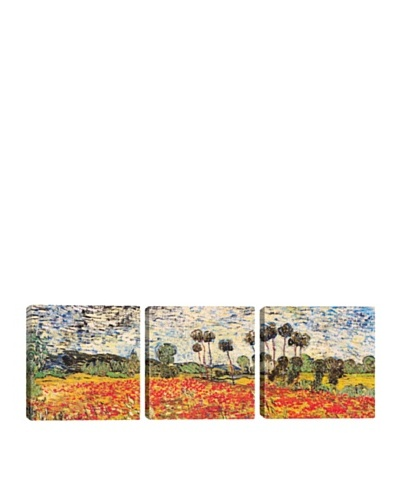 iCanvasArt Vincent Van Gogh: Field of Poppies Panoramic Giclée Triptych