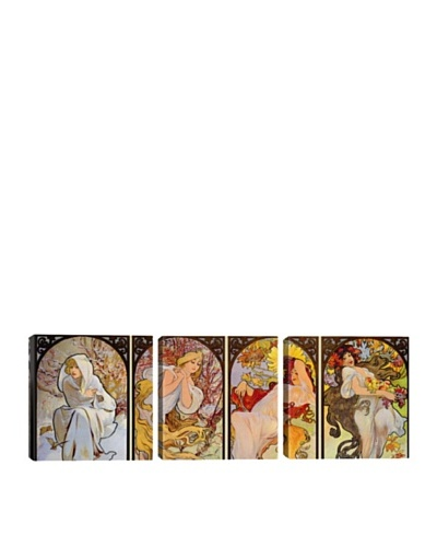 iCanvasArt Alphonse Mucha: Les Saisons Panoramic Giclée Triptych
