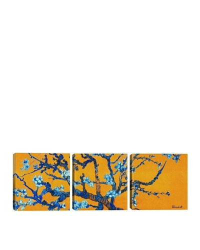 iCanvasArt Vincent Van Gogh: Almond Blossom, Orange Panoramic Giclée Triptych