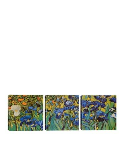 iCanvasArt Vincent Van Gogh: Irises Panoramic Giclée Triptych