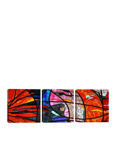 iCanvasArt Stained Glass Window Panoramic Giclée Triptych
