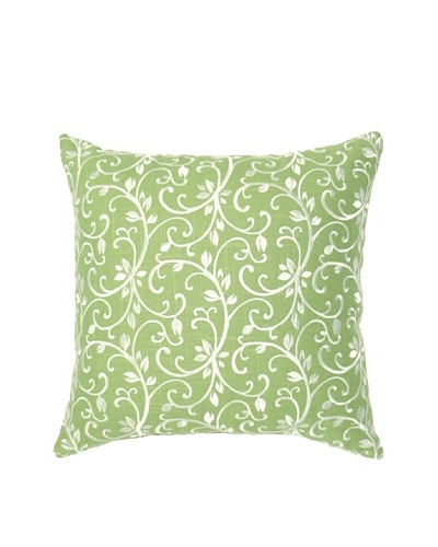 "Image by Charlie Taylor Embroidered Decorative Pillow, Seamist Green/White, 17"" x 17"""