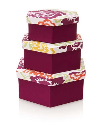 Image By Charlie 3-Piece Cotton Sateen Summertime Hexagonal Boxes, Floral, Multicolor