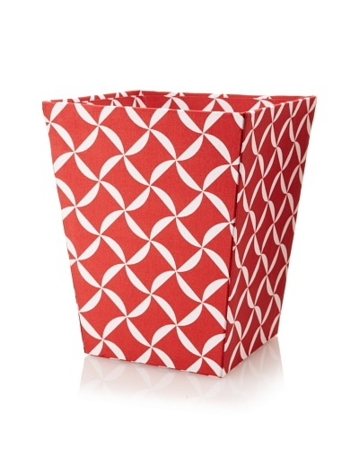 Image By Charlie Cotton Sateen Taylor Wastepaper Basket, Geometric, Cherry Red