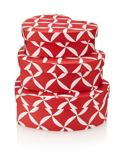 Image By Charlie 3-Piece Cotton Sateen Taylor Heart Boxes, Geometric, Cherry Red